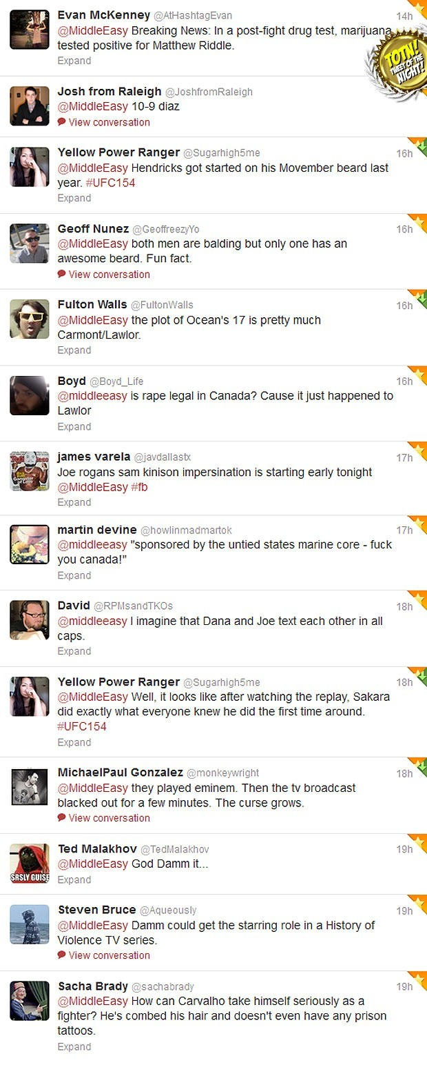 Sh*t people tweeted @MiddleEasy during UFC 154