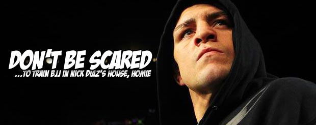 Watch Nick Diaz give a few BJJ lessons to white belts in the comfort of his home