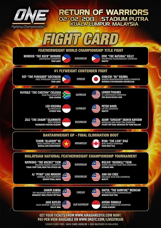 Check out the completed ONE FC: Return of Warriors fight card