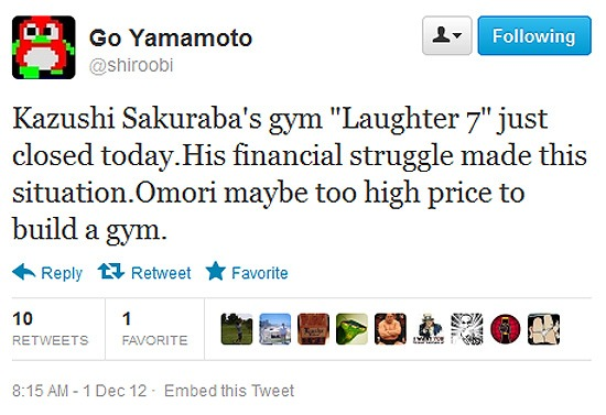 """Kazushi Sakuraba's gym """"Laughter 7"""" just closed today.His financial struggle made this situation.Omori maybe too high price to build a gym."""