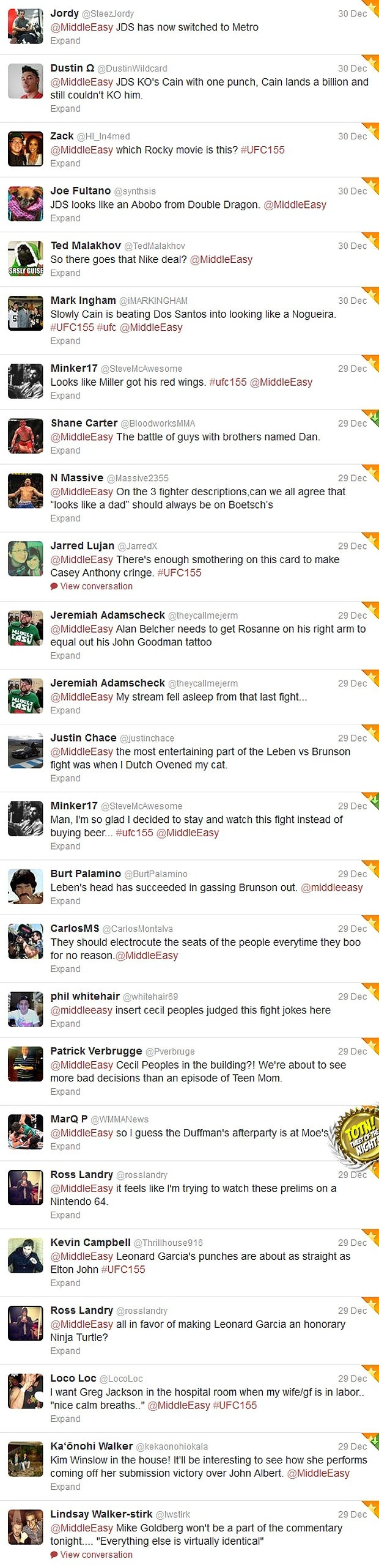 Check out Sh*t people tweeted @MiddleEasy during UFC 155