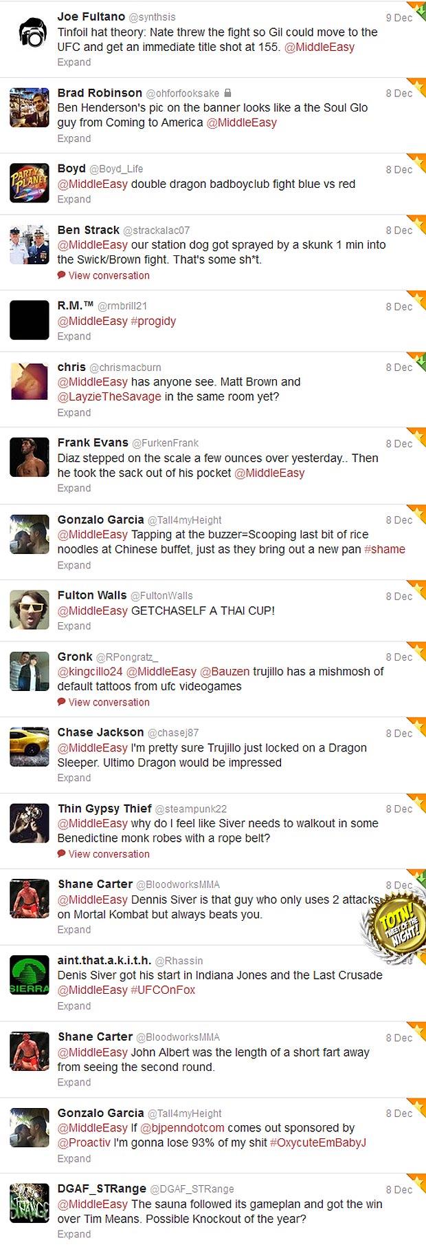 UFC on FOX 5 tweets