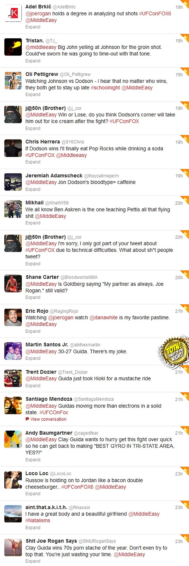 Sh*t people tweeted @MiddleEasy during UFC on FOX 6