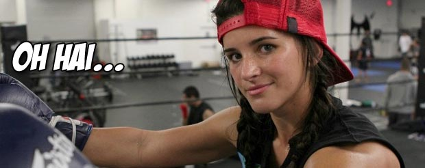 Undefeated Tiffany Van Soest wanted to show off something at her Lions Fight 8 weigh-in