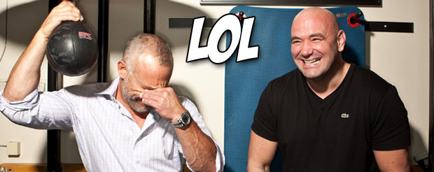 Watch Dana and his friends prank Lorenzo Fertitta by stuffing his pockets with stinky cheese and grapes