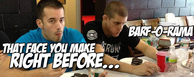 Joe Lauzon competed in an insane junk food eating decathalon at his gym today