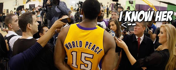 Los Angeles Laker Metta World Peace pulled off a superb muay-thai clinch in his fight last night