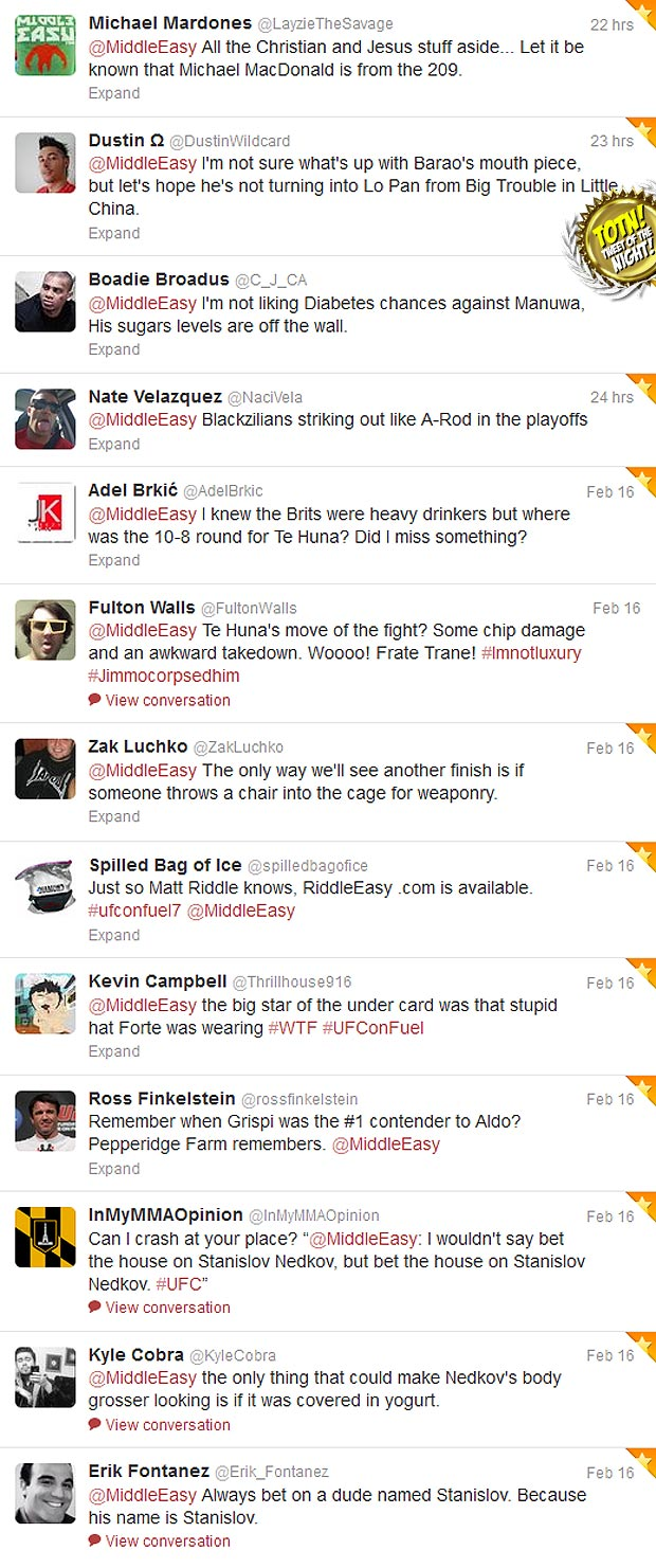 Check out Sh*t people tweeted @MiddleEasy during UFC on Fuel TV 7