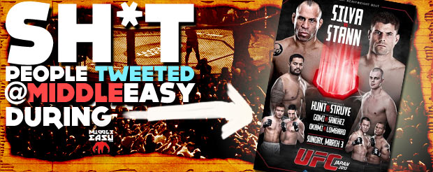 Check out Sh*t people tweeted @MiddleEasy during UFC on Fuel TV 8