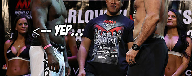 So you want to watch Rumble Johnson weigh-in as a heavyweight? Well you're in luck…