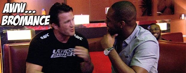 Here's the first Jon Jones and Chael Sonnen pre UFC 159 staredown pic you've all been dying to see