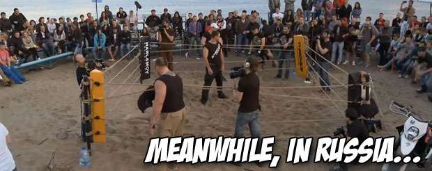 In Russia, a 33 lb weight difference means nothing, especially when you're fighting in the sand