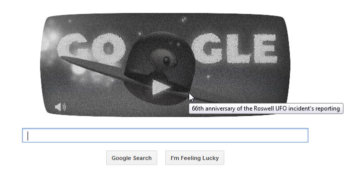 Google has the greatest tribute to the 66th anniversary of the Roswell crash on their home page right now