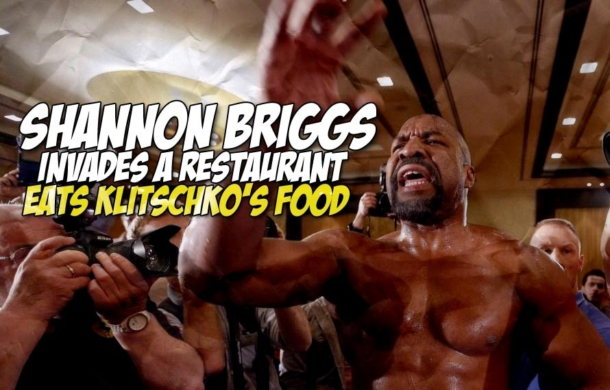 Shannon Briggs invaded a restaurant and ate Wladimir Klitschko's pasta in this insane video