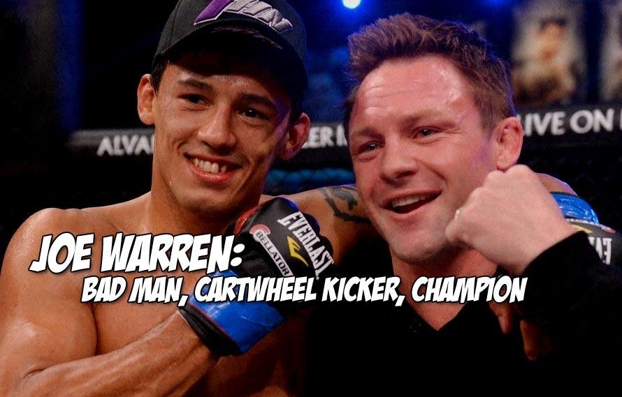 Joe Warren unifies the Bellator bantamweight belts, lands strange upside down hanging kick on Eduardo Dantas