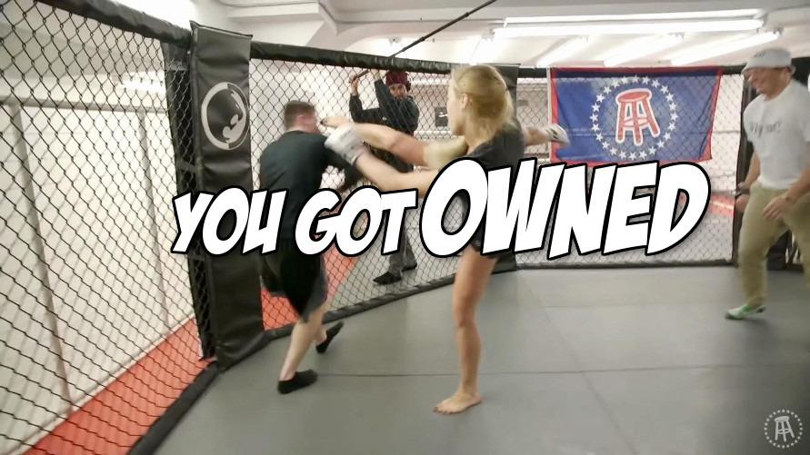 Watch: UFC fighter Katlyn Chookagian subs Barstool Sports intern 19 times in 4 minutes, headkicks him