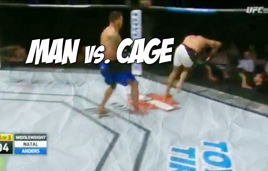 Replay: Rafael Natal trips, falls, runs headfirst into the cage, recovers only to get KO'd by Eryk Anders