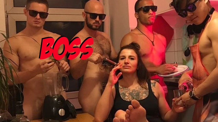 Pic: Newly Signed Invicta FC Fighter Katharina Lehner Poses with Naked Man Servants
