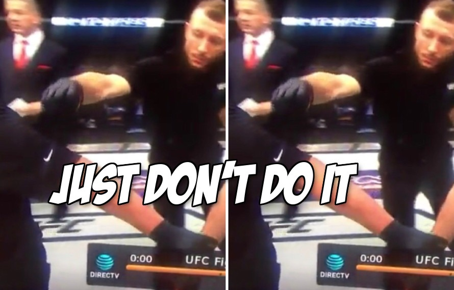 Video: Cuz Reebok, UFC employee covers up Mario Yamasaki's Nike logo while the ref is not looking