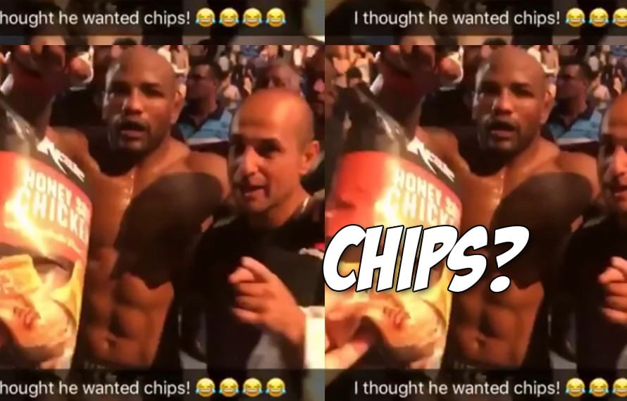 Video: Hero Aussie fan tries to feed a limping Yoel Romero chips after UFC 221