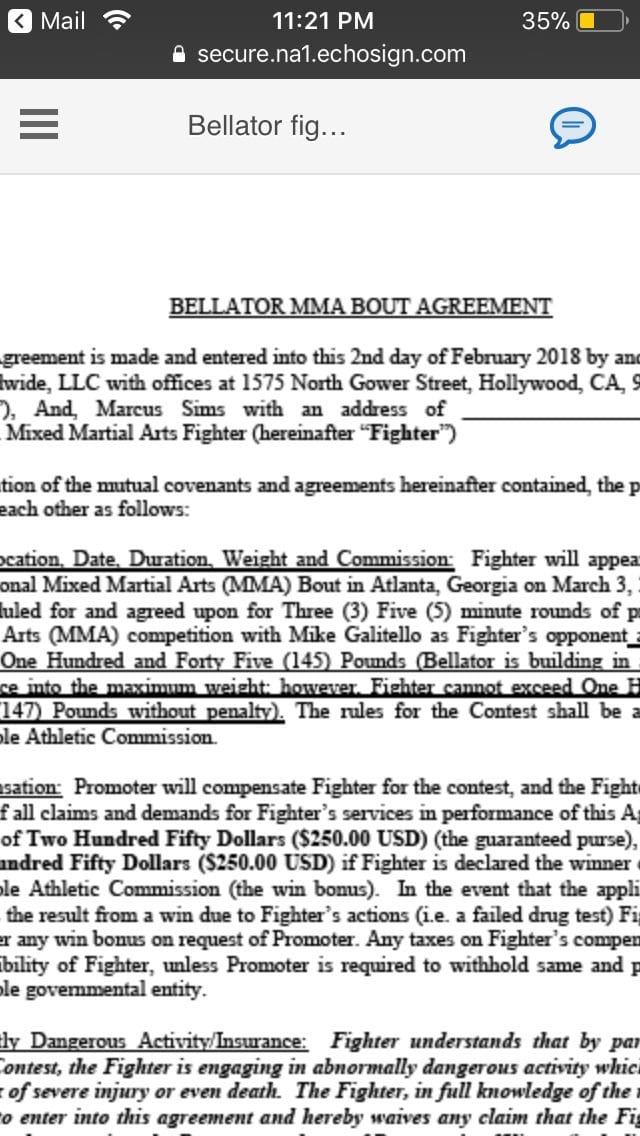 Mma Fighter Leaks Bellator Contract Offer 250 To Show 250 To