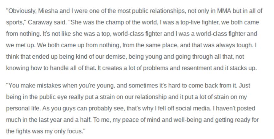 Caraway-Quote Heart Broken Bryan Caraway Talks About Getting Over Miesha Tate, Sounds Broken