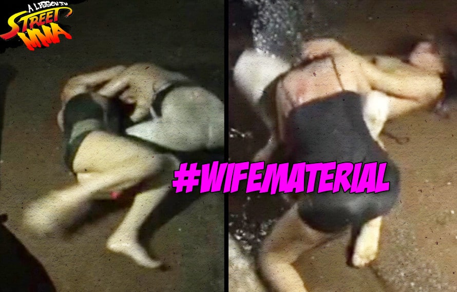 A Lesson in Street MMA: Don't let losing your bra or rolling in water stop your ground n' pound