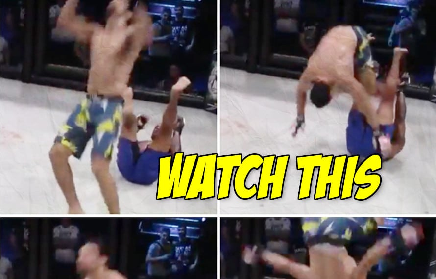 Video: Fighter pulls off amazing in-cage backflip to setup submission, chokes out opponent