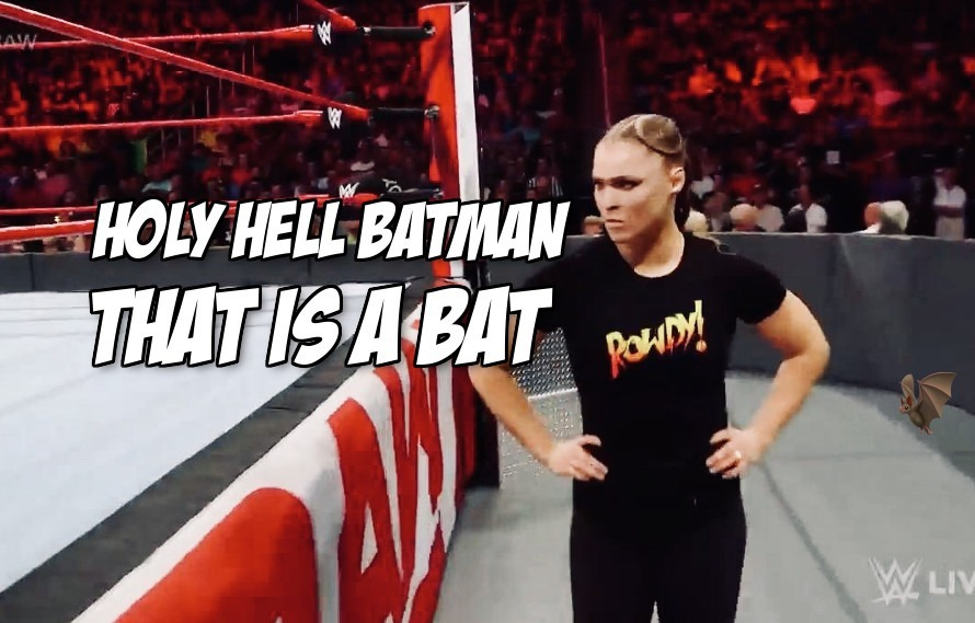 Video: Did a flying bat really try to attack Ronda Rousey on Monday Night Raw?