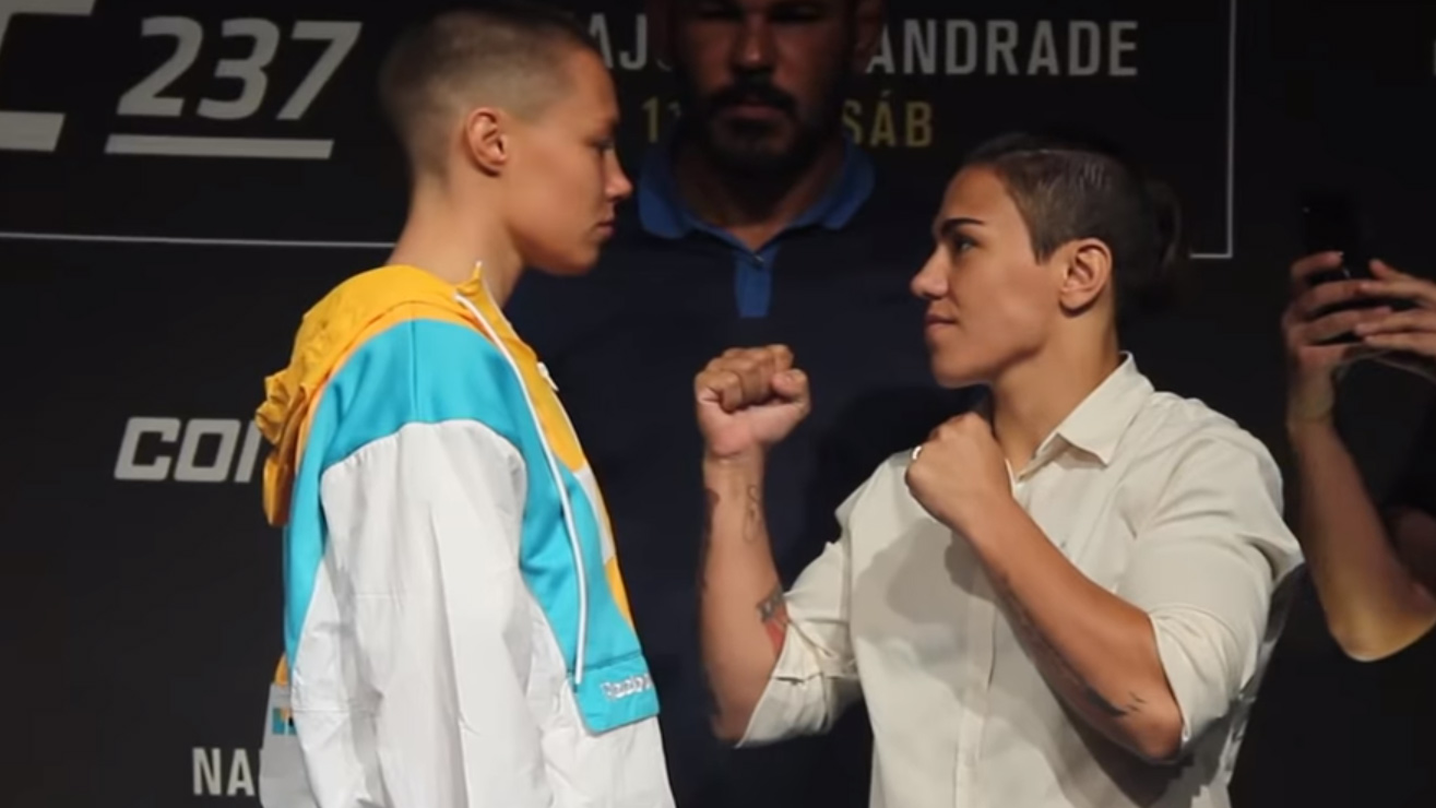 Video: Rose Namajunas, Jessica Andrade Staredown At UFC 237