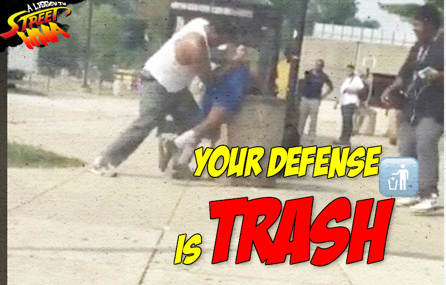 A Lesson in Street MMA: Trying to escape into a trash can won't win you any favor with the judges