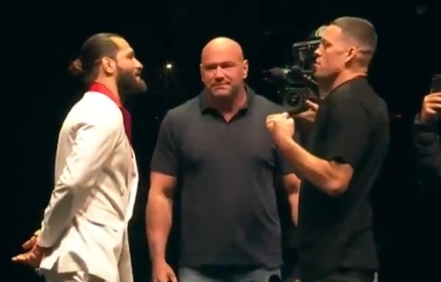 VIDEO: Jorge Masvidal vs Nate Diaz Staredown From UFC 244 Press Conference