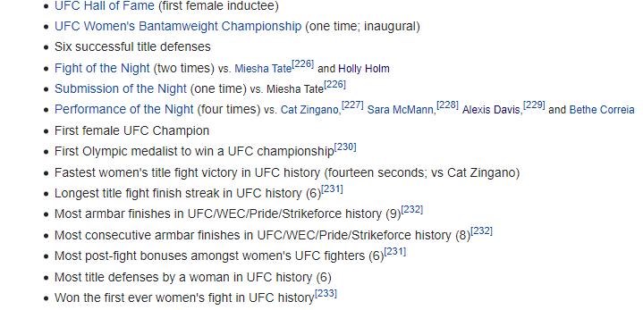 Rousey's accomplishements via WikiPedia