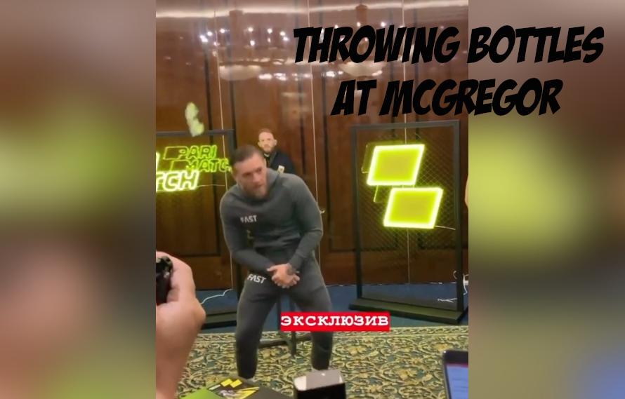 VIDEO: Fan Throws Soda Bottle At Conor McGregor!