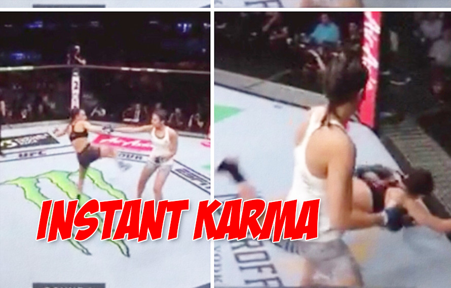 GIF: Nadia Kassem tries fake touch gloves trick, immediately gets TKO'd for it