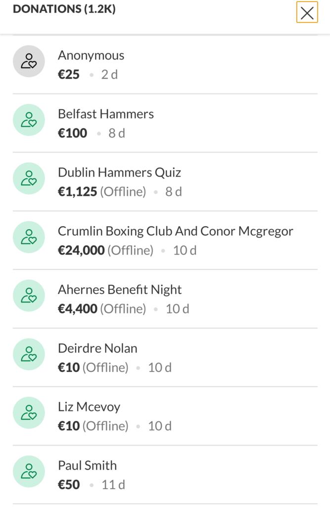 Conor McGregor's GoFundMe donation