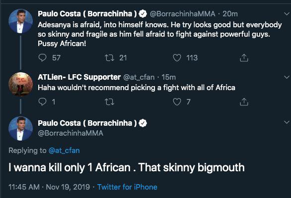 Paulo Costa Racism