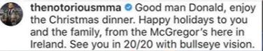 McGregor's comment via Instagram