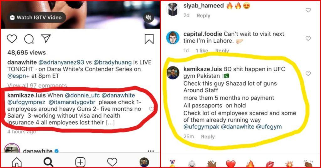 Screenshot under Dana White's Instagram comments