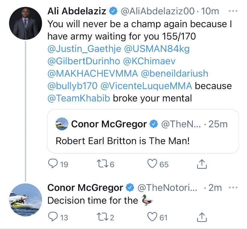 Conor Mcgregor Tweet Khabib Nurmagomedov Duck