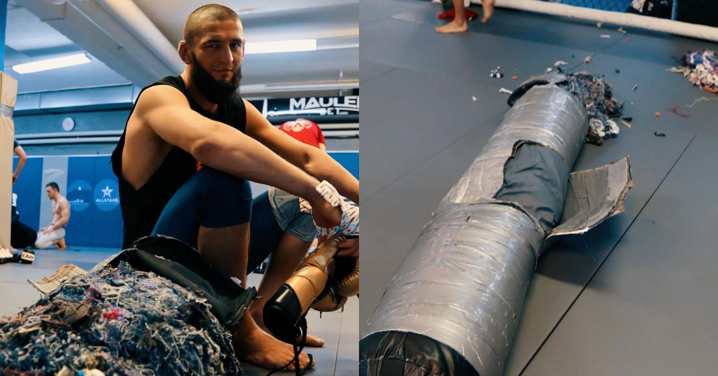 Khamzat Chimaev Smeshes Heavy Bag, Vows To 'Dominate' Leon Edwards and Kamaru Usman