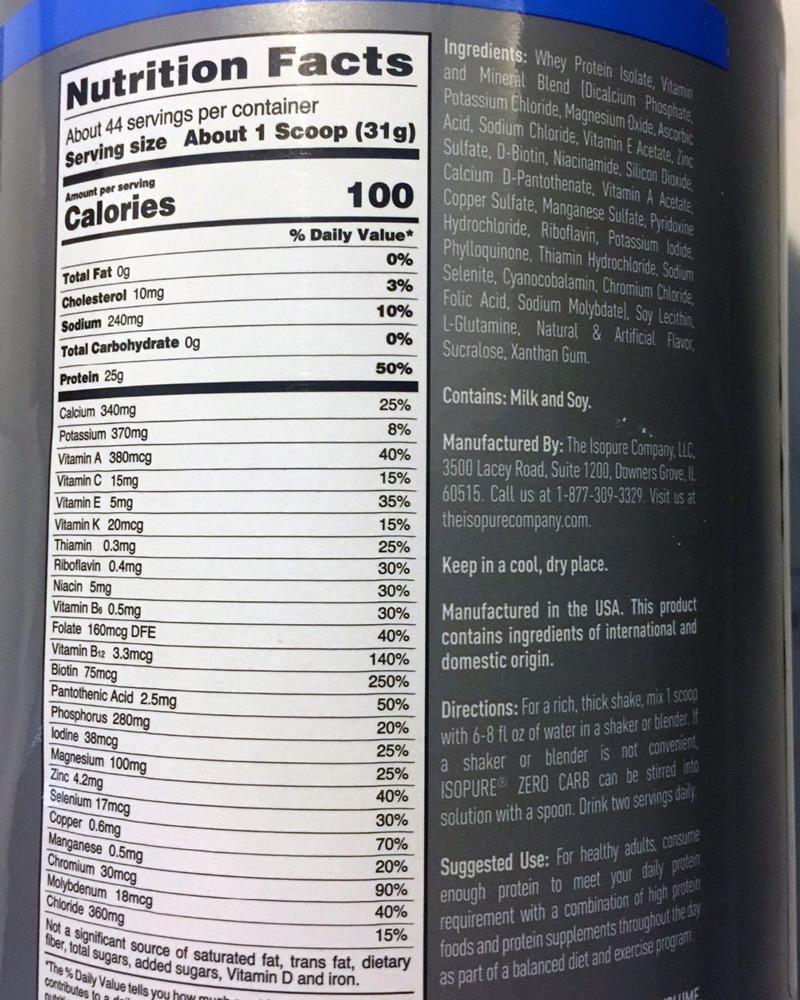 Isopure Zero Carb Ingredients